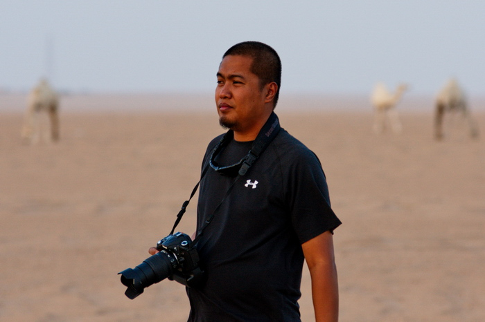 Steven among the camels
